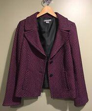 Ann Taylor Mulberry Black Print Pattern Jacket Blazer Women's Size 10