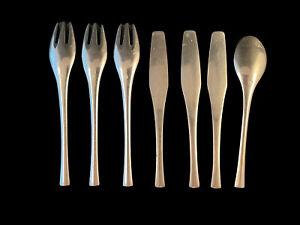 Lot Of 7 Salad Forks/Teaspoon/Knives DANSK DESIGNS ODIN Stainless Germany MCM