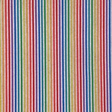 Cotton Rich Linen Look Fabric Digital Rainbow Candy Stripes Upholstery