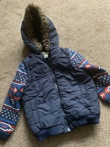 BOYS BLUE HOODED ZIP COAT JACKET AGE 3/4YRS GREAT CONDITION