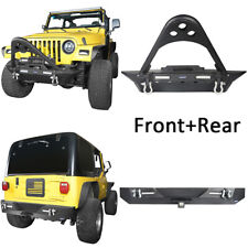 For 87-06 Jeep Wrangler YJ TJ Front & Rear Bumper w/ LED Light Hitch Receiver