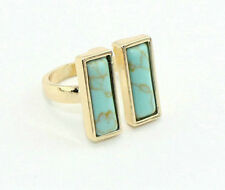 Fashion Gold Plated Double Rectangle Blue Turquoise Cocktail Band Ring
