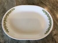"""Corelle Green Spring Blossom by Corning 12"""" OVAL SERVING PLATTER , USA"""