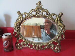 Rare Size  Antique ART NOUVEAU - Large DRESSER TOP MIRROR w/ SEMI NUDE WOMEN