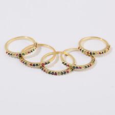 Men Women Luxury Gem Lover Fashion Promise Bridal Wedding Rainbow Rings Size 5-9