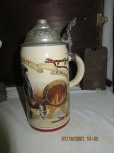 Antique Mettlach Villeroy & Boch Beer Stein 1909/983 PUG Falstaff Geschutzt 1/2L