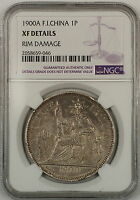 1900A French Indochina 1P Piastre Silver Coin NGC XF Details Rim Damage