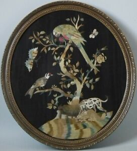 Antique Silkwork Embroidery of Birds in a Tree