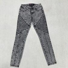 2b Bebe Womens Jeans Size 26 Gray Black Moto Knee Seam Skinny Denim Jeggings NWT