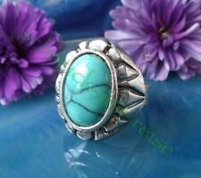 Anillo en el estilo vintage con piedra turquesa tíbet plata forma ovalada