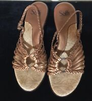 Sofft~Bronze Metallic~Strappy~Sling Back~Comfort Cushioned~Casual~Size 8~