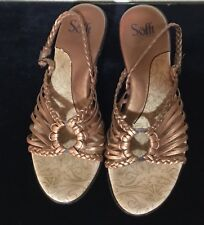 Sofft~Size 8~Bronze Metallic~Strappy~Sling Back~Comfort Cushioned~Casual