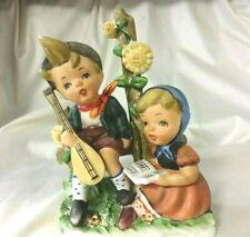 Vintage Bisque Boy & Girl Playing & Reading Music Figurine Lipper & Mann Japan