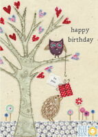 Owl and Hedgehog Happy Birthday Card – Blue Eyed Sun Greeting Card