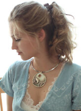 Vintage sterling silver genuine .925 shell Dolphin cameo pendant necklace choker