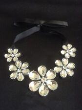 *Vintage Style Black & Silver Flower Gem Bib Necklace With Ribbon*