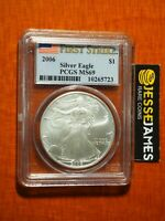 2006 $1 AMERICAN SILVER EAGLE PCGS MS69 FLAG FIRST STRIKE RARE!