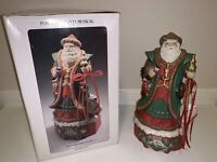 Victorian Old World Santa  Porcelain Music Box Figurine Plays White Christmas