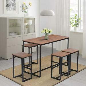 5pc Compact Kitchen Dining Wood Bar Table Chair Home Space Saving Furniture Set