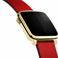 Pebble Time Smartwatch 32mm Smart Watch Apple iOS Android Steel Gold Leather