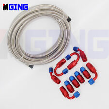 AN6 6AN AN-6  Stainless Steel Braid Oil Fuel Line Hose End Fitting Adapter 5M