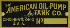 American Oil Pump Visible Gas Pump Brass ID Tag Fits All Models Part # ID-110