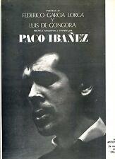 PACO IBANEZ LP ART COVER SALVADOR DALI / GARCIA LORCA / GONGORA / RARE