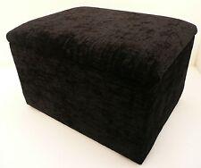 "SIZE 20""x 20"" STORAGE BOX FOOTSTOOL POUFFE BLACK CHENILLE FABRIC"