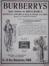 PUBLICITÉ BURBERRYS MANTEAUX COSTUME DE VILLE DE VOYAGE DE SPORT