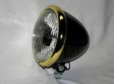 """Black Powder Coated 5-3/4"""" Bullet Headlight , Brass Plated Ring. Bobber Chopper"""