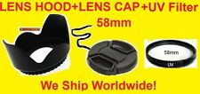 LENS HOOD+UV+CAP 58mm fit CANON 28-90 55-250 28-105 28-80 18-55 90-300 75-300 mm