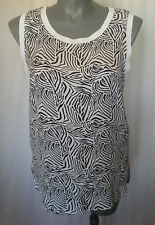 Ladies Womens Sleeveless Cami Tank Top Singlet Blouse Black White Sussan Size 14