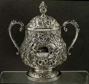 A.E Warner Sterling Sugar Bowl         c1850 HAND DECORATED