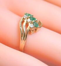 NICE! 14K Yellow Gold .25 Ct Marquise Cut Emerald & Diamond Ring Size 6.25