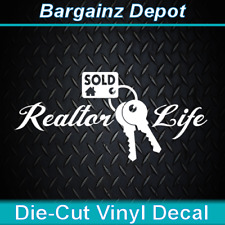 Vinyl Decal .. REALTOR LIFE  .. Real Estate Sales Agent Sold Car Laptop Sticker
