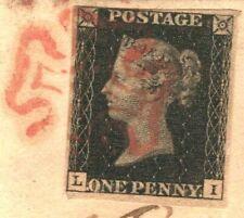 GB PENNY BLACK COVER Ireland Dublin 1d Plate IX(LI) *Christmas Day* 1840 784d