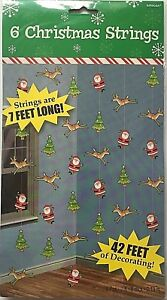 6 x 7ft Christmas Tree Santa Reindeer Hanging String Decorations Party XMAS