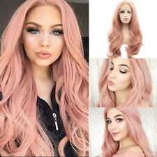 Thick Brazilian Lace Front Hair Wig Heat Resistant Long Wigs Pink Wig Synthetic
