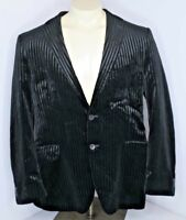 Ben Sherman Velvet Striped Black Sportcoat Blazer sz 44R Lined