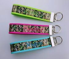 "Key Fob Chain Wristlet 1.25""x11"" Personalized Monogram Handmade Gift Camoflauge"