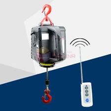 AC110V Portable Electric Winch w/ Wireless Remote Handheld Winch Wire Rope Hoist
