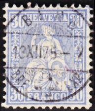 Switzerland - 1867 - 30 Francs Blue Seated Helvetia Issue # 56a F-VF Nice Cancel