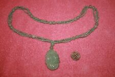 Vintage Long Green Jade Bead Necklace with Carved Flower Pendent