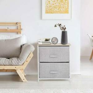 Fabric Chest of 2 Drawers Bedside Cabinet Table Storage Unit Grey Bedroom