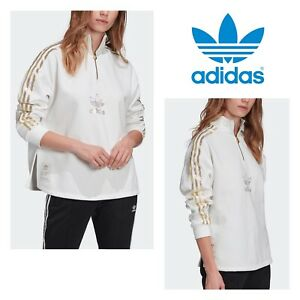 Adidas originals Bling WHITE gold 2.0 quarter-zip sweatshirt GK1723