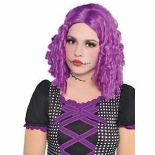 Adults Kids Damaged Doll Purple Wig Monster Hair Style Bright Halloween Clown