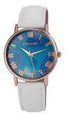 Damenuhr Türkis Weiß Gold Blumen Römisch Leder Armbanduhr IMP-195032100212