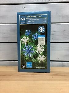 Holiday Time - 60 Count LED Snowflake Light Set - Indoor/Outdoor - White/Blue