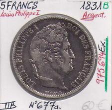 5 FRANCS - LOUIS PHILIPPE I - 1831 B (975 694 Ex) Pièce en Argent / Qualité: TTB