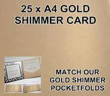 25 x GOLD SHIMMER A4 INVITATION WEDDING PAPER CARD 200 GSM METALLIC SCRAPBOOKING
